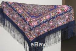 1401-14 AUTHENTIC PAVLOVO POSAD RUSSIAN SHAWL 100% WOOL CAPE 58 SCARF 148x148cm