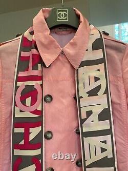 $1k CHANEL CC Logo Vintage Reversible Pink Bandeau Scarf Wrap Bandana