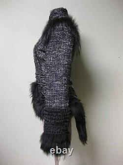 $20,749 Alexander Mcqueen Runway Fox Fur Zip Panels Tail Bouclé Jacket Coat 46
