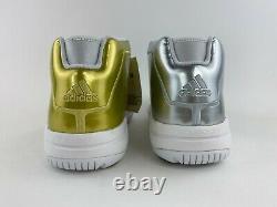 Adidas Pro Model 2G Gold Silver Metallic Men's Size 12 Basketball Shoes FW9488