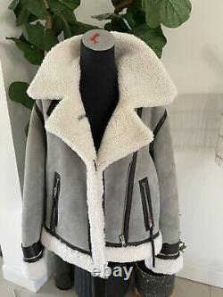 All Saints Priya Duck Egg Blue Shearling Biker Jacket Coat L New