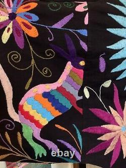 ArteOtomi Mexican Hand Embroidered Otomi Birds Of Paradise Linen Kimono Top XL