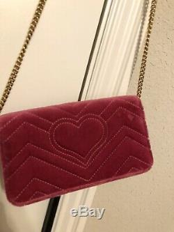 Authentic Gucci Limited edition Marmont Women Purse Bag LoveBeaded Velvet $1600