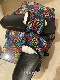 Authentic Mens Gucci GG Psychedelic Print Slides! Size 10-10.5 US / 40 EUR