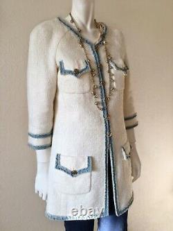CHANEL 07P Ecru Tweed Jacket Coat Denim Fringed