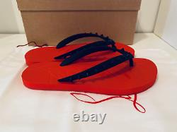 CHRISTIAN LOUBOUTIN Donna spiked rubber flip flops, New, Auth, Black Red