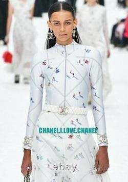 Chanel 19a Amazing CC Ski Graffiti Print Bodysuit Top, 36, New, Rare