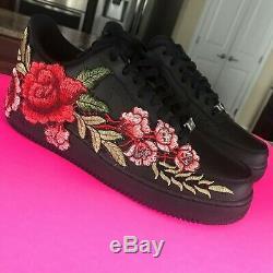 Custom Nike Air Force 1 Shoes FREE SHIPPING Black Flower