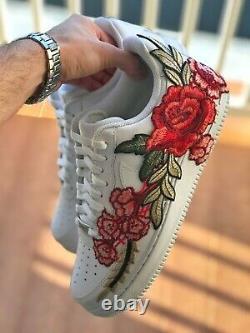 Custom Nike Air Force 1 Shoes Red Flower 10 10.5 7y 8 6.5y 6y 7.5 8.5 5.5y 9.5
