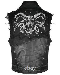 Devil Fashion Mens Goth Punk Waistcoat Vest Top Black Dieselpunk Studs Destroyed