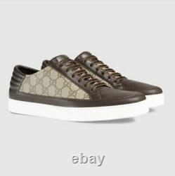Gucci Men's Common Gg Supreme Brown Leather And Canvas Sneakers GUC 11 US12 $550