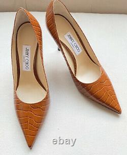 Jimmy Choo Croc Embossed Leather Heels Pumps Love 85 Cuoio Size 8 EU 38 NWT