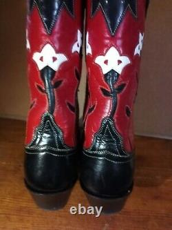 Lucchese Classics Ladies Black and Red Leather TULIPS Cowboy Boots 7.5 B Hot