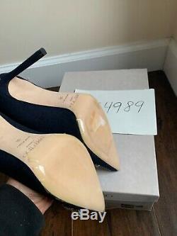 NWT 1045$ Jimmy Choo Romy 100 Flannel Jeweled Heels Pumps 38 US 7.5 8 Receipt