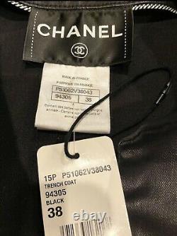 NWT $6,875 Chanel 2015 Black Trench Coat 34 36 38 2 4 6 Jacket Top HUGE GIFT BAG