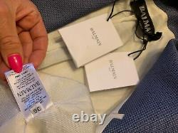 NWT Balmain Slate Blue Women Blazer Silver Buttons 36 US 4