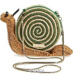 NWT KATE SPADE WICKER SNAIL Straw Rattan Spring ANIMAL FUN PURSE BAG CLUTCH FROG