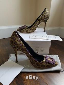 NWT Manolo Blahnik 1055$ HANGISI floral jacquard heels size 38.5 US 8 8.5