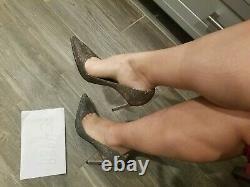 NWT Manolo Blahnik BB 105 nottorno mesh Glitter heels pumps size 38.5 US 8 8.5