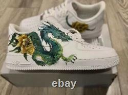 New Custom Nike Air Force 1 White Low Trainers Dragon Artwork Message For Size