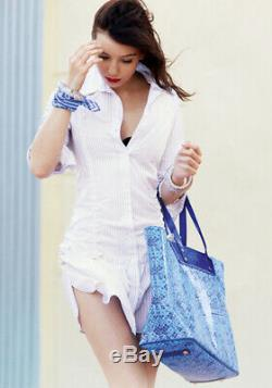 New Louis Vuitton x Takashi Murakami Cosmic Blossom Bandana Square Scarf Blue