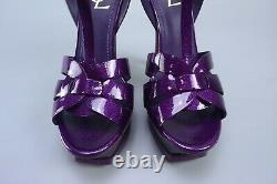 New YVES SAINT LAURENT YSL $895 Tribute 105 Purple Patent T-Strap Sandals 39 US9
