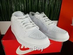 Nike Air Jordan 1 Low Triple White Mens Basketball Shoes 553558-112 Size 8-13
