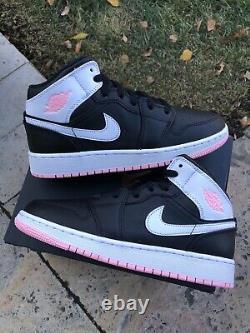 Nike Air Jordan 1 Mid GS Black White Artic Pink 555112-061 Size 6.5Y/ 8 Women