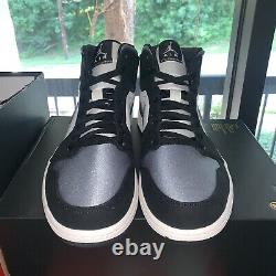 Nike Air Jordan 1 Mid SE Black Satin Grey Toe 852542-011 Sz 12 New