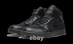 Nike Air Jordan 1 Mid Shoes Triple Black 554724-050 Men's NEW