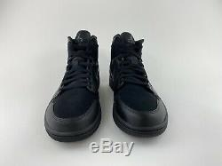 Nike Air Jordan 1 Mid Triple Black Men's Sneakers Shoes Dark Grey 554724 050