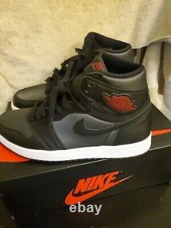Nike Air Jordan 1 Retro High OG Black Gym Red Black Satin Mens Size 9.5