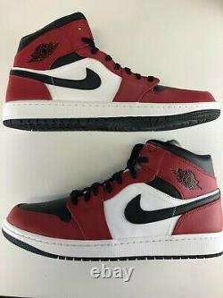 Nike Air Jordan 1 Retro MID Chicago Toe MENS 554724-069 Red White Black SIZE 10