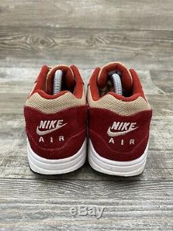 Nike Air Max 1 Premium Retro Red Beige Curry White Tan Brown 908366-600 Size 9