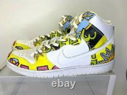 Nike Dunk High Pro SB 2014 De La Soul 748751-177 White Yellow Men's Size 13