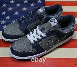 Nike Dunk Low Premium CL Denim Blue Shoe Vtg 2006 304714-441 Levis Men's 10.5