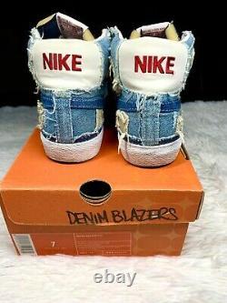 Nike SB Blazer Denim Mid 77 High Ripped Supreme Patchwork Womens Size 7 RARE