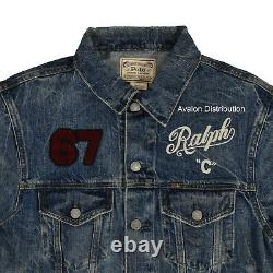 Polo Ralph Lauren RL 67 Spartans Varsity Patchwork Denim Trucker Jacket New