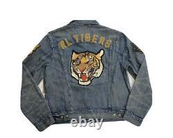 Polo Ralph Lauren RL Tigers Varsity P Patch Denim Jean Jacket New WithTags Mens M