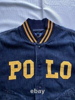 Polo Ralph Lauren Varsity Spell Out Denim Jean Jacket Blue New WithOUT Tags Men XL