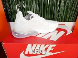 RARE Nike Air Max 270 GS Womens Running Shoes Triple White Size 6-8.5
