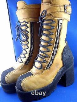 RARE Retro DESTROY BOOTS SPAIN 35-36/5AU Vintage CYBERPUNK HIGH PLATFORM BOOTS