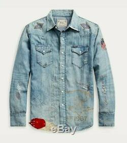 Ralph Lauren Limited Edition Cowboy Patchwork Western Shirt Polo US Flag Rare XL