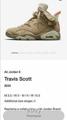 Travis Scott x Nike Air Jordan 6 British Khaki Size 11 Authenticated