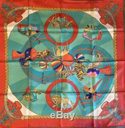 Vintage RARE HERMES Circus scarf 100% Silk