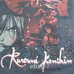 Vintage Rurouni Kenshin Samurai X Mens Shirt Gray 2XL Anime Manga Bandai Rare