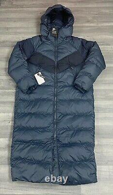 Womens Nike Down Fill Parka Long Jackets Navy Blue Puffer Size Small Ah8694-475