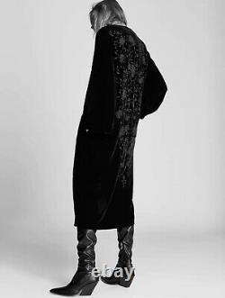 Zara AW2021 Embroidered Velvet Kimono Black Size XS/S Jacket Bloggers Fave BNWT