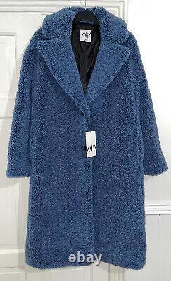 Zara Aw21 Blue Long Limited Edition Faux Shearling Fur Teddy Coat Size S Bnwt