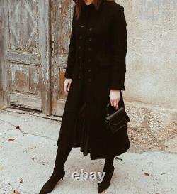 Zara Limited Edition Black Wool Blend Long High Neck Coat Size L Bnwt Bloggers